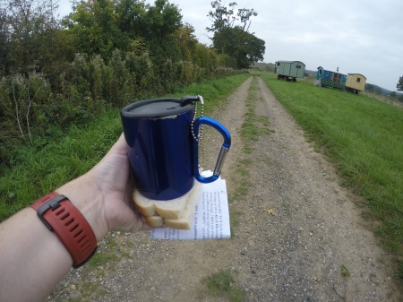 Checkpoint 2 goodies - cuppa tea with sandwich.