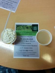 Heart of England Forest Marathon certificate, trifle and cuppa